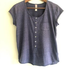 Free People FP Branch Blue Short Sleeve Henley